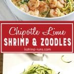 White bowl with zucchini noodles and chipotle lime shrimp