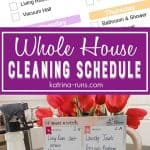 pinterest image of a house cleaning schedule